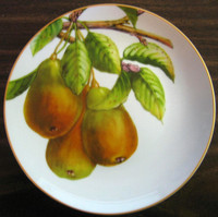 Decorative plate with pears.