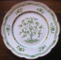 Green Chinoiserie Exotic Tree GOLD Trim French Bone China Plate