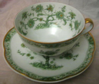 Green Chinoiserie Exotic Tree GOLD Trim French Bone China Cup + Saucer