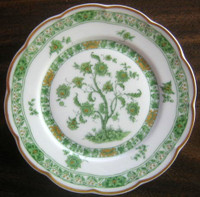 Green Chinoiserie Exotic Tree GOLD Trim French Bone China Plate S