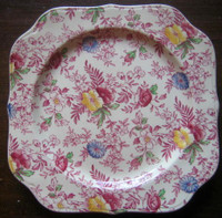 Shabby Chic Pink Green Blue Yellow Hand Colored Chintz Square Plate