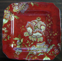 Red Exotic Flower Green Plum Paisley Paris Apt Square Plate Dish