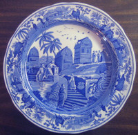 Blue Toile Transferware Exotic Animals Palm Temple Plate