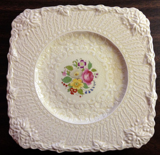 Textured Leaf Scroll Pink Rose OLD Square Plate England www.DecorativeDishes.net