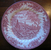 Decorative Plate - Red Pink Toile Transferware Cottage Brook Leaves Large