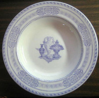 Antique Wedgwood Purple Transferware Urn Scroll Flat 3-D Bowl