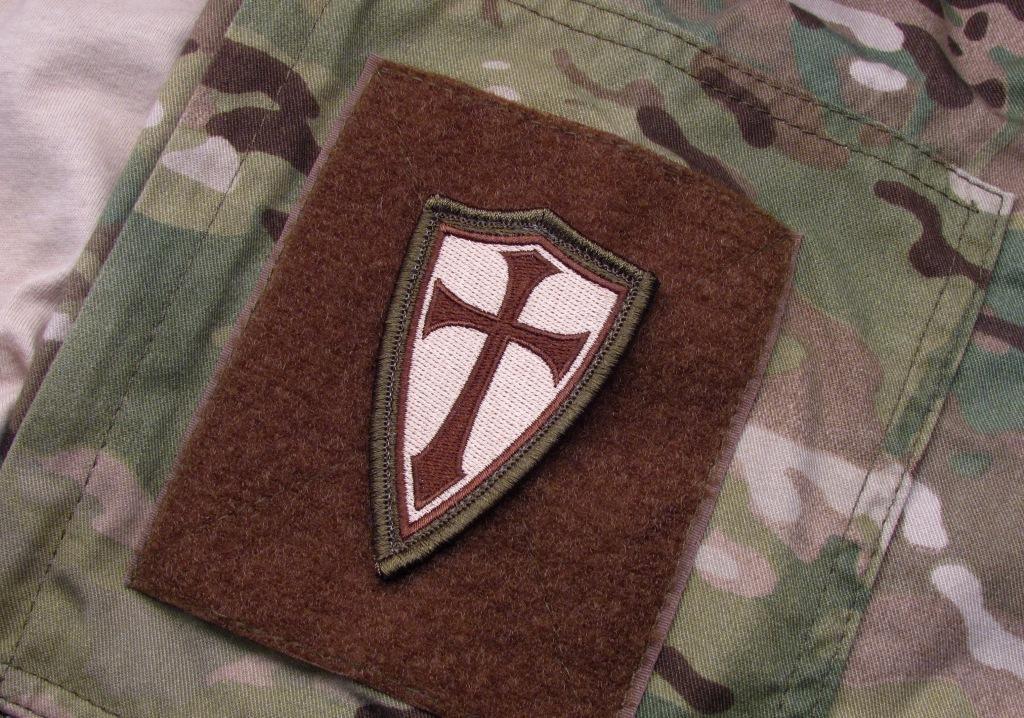 Crusader Cross Patch Od Brown Tan Steel Flame