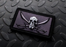 Steel Flame Jolly Roger 3D Patch Black