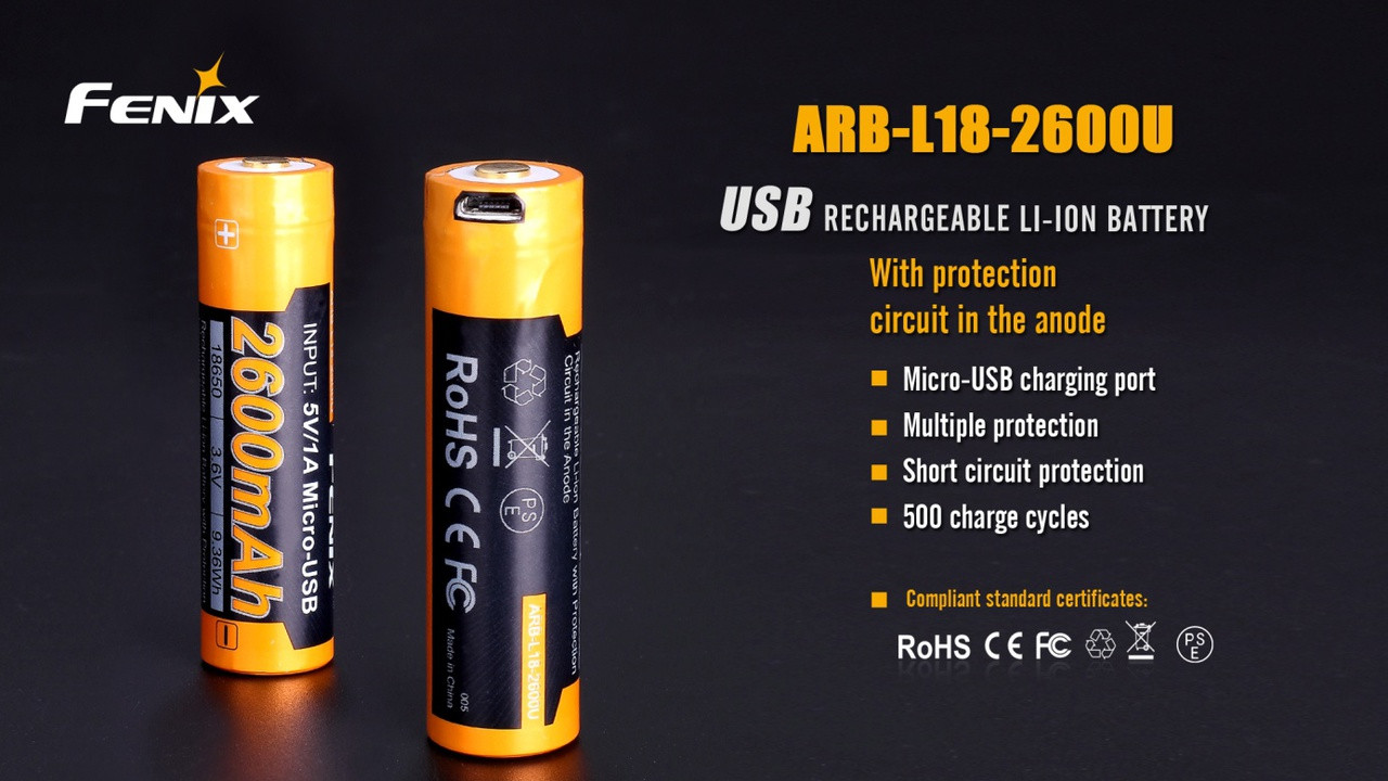 New Fenix Arb L18 2600u Usb Rechargeable Li Ion 18650 Battery Protection Circuit Order Now