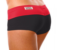 "Kiss Shorts - RED ON BLACK - FINAL SALE - XSMALL - INSEAM 1.5"" - SIDES 6.5"" (1 AVAILABLE)"