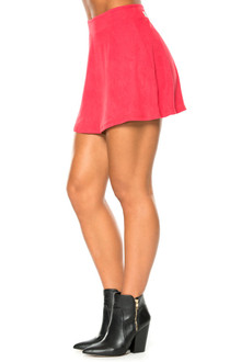 Flair Stretch Suede Skirt
