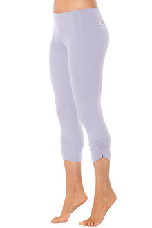 Lavender Sport Band Side Gather 3/4 Leggings - READY