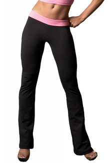 """Alicia Marie - Diva V Back Pants - Bootleg - FINAL SALE - CANDY PINK ON BLACK - 28.25"""" INSEAM - SMALL"""