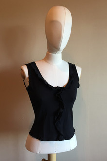 "Ruffle Top - BLACK - SAMPLE FINAL SALE - SMALL - 10"" SIDES (1 AVAILABLE)"
