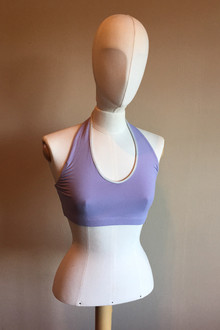 Halter Bra - SAMPLE FINAL SALE - SILVER PIPING ON LAVENDER - SMALL (1 AVAILABLE)
