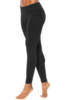 Sport Band Gather Ankle Leggings - FINAL SALE - BLACK ON BLACK - SMALL (1 AVAILABLE)