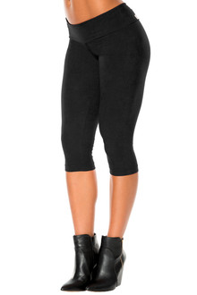 Stretch Suede Sport Band 3/4 Leggings - Tight - FINAL SALE - BLACK - XSMALL (2 AVAILABLE)