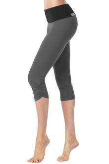 High Waist Band Side Gather 3/4 Leggings - Black on Metal - FINAL SALE - XS, M, L (LIMITED QTY)