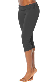 Rolldown Side Gather 3/4 Leggings - FINAL SALE - BLK ON BLK - XSMALL (1 AVAILABLE)
