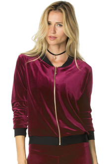 Stretch Velvet Bomber Jacket