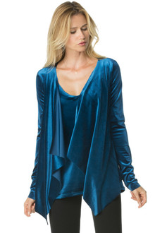 Stretch Velvet Wrap Top