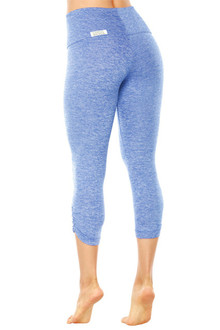 Butter High Waist Band Side Gather 3/4 Leggings - FINAL SALE - BUTTER BLUE - MEDIUM (1 AVAILABLE)