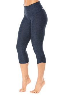 Butter High Waist Band Side Gather 3/4 Leggings - FINAL SALE - DENIM - SMALL (1 AVAILABLE)