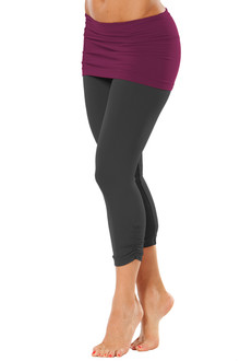 Transformable Skirt Side Gather 3/4 Leggings - FINAL SALE - BURGUNDY ACCENT ON BLACK - XSMALL (1 AVAILABLE)