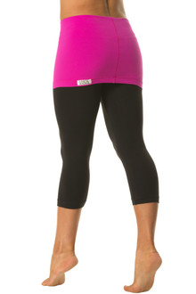 "Transformable Skirt 3/4 Leggings - FINAL SALE - FUCHSIA ON BLACK - MEDIUM - SKIRT 13"" (1 AVAILABLE)"