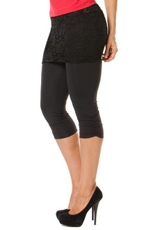 Lace Transformable Side Gather 3/4 Leggings - FINAL SALE - BLACK LACE ON BLACK - SMALL (1 AVAILABLE)