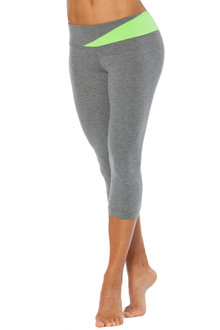 Cotton Florence Band 3/4 Leggings - FINAL SALE - LIME AND MED GRAY ACCENT ON MED GRAY -  XSMALL (1 AVAILABLE)