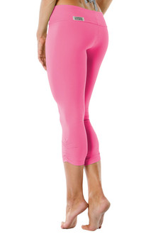 Sport Band Side Gather 3/4 Leggings - CANDY PINK - FINAL SALE - XS, S, M, & L