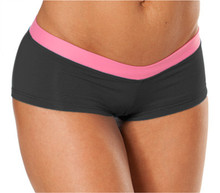 "Rio Shorts - FINAL SALE - CANDY PINK ON BLACK - MEDIUM - 2.25"" INSEAM - 8.5"" SIDES (1 AVAILABLE)"