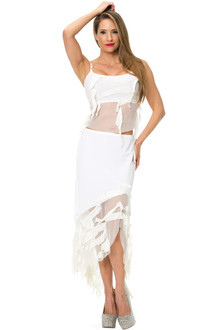 One Of A Kind - White Mesh Ruffle Two Piece Outfit - FINAL SALE - SMALL/MEDIUM (1 AVAILABLE)