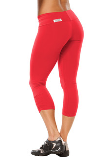 Summer Sale! Sport Band Side Gather 3/4 Leggings - Final Sale - Vegas Red