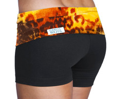 "Rolldown Shorts - FINAL SALE - TIGER RUST ON BLACK - LARGE - 3"" INSEAM (1 AVAILABLE)"