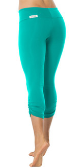 SPORT BAND SIDE GATHER 3/4 LEGGINGS - TEAL - FINAL SALE - MEDIUM