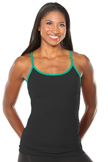 Yoga Form Top - JOY GREEN ACCENT ON BLACK - FINAL SALE - SMALL