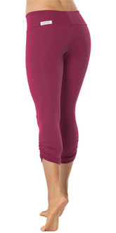Burgundy Sport Band Side Gather 3/4 Leggings - READY