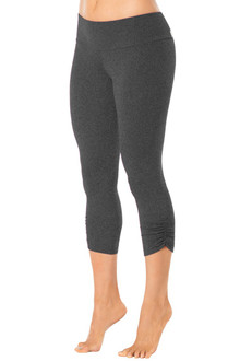 Mars Gray Sport Band Side Gather 3/4 Leggings - READY