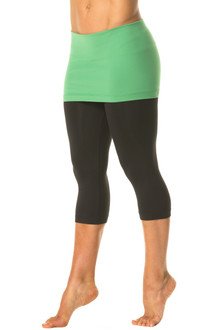"Transformable Skirt 3/4 Leggings - FINAL SALE - EMERALD ON BLACK - MEDIUM - SKIRT 13"" (1 AVAILABLE)"