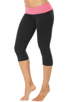 Rolldown 3/4 Leggings - CORAL ON BLACK - FINAL SALE - SMALL (1 AVAILABLE)