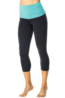Butter Rolldown on Supplex 3/4 Leggings - FINAL SALE - BUTTER MINT ON BLACK  - SMALL (2 AVAILABLE)
