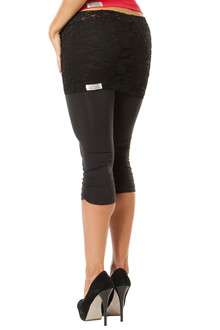 Lace Transformable Side Gather 3/4 Leggings