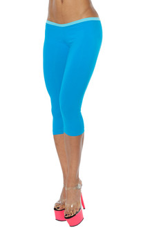 Alicia Marie - Cover Girl 3/4 Leggings - FINAL SALE - LIGHT TURQ ON BRIGHT TURQ - SMALL (1 AVAILABLE)