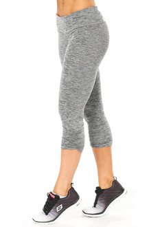 Butter Black Sport Band Side Gather 3/4 Leggings