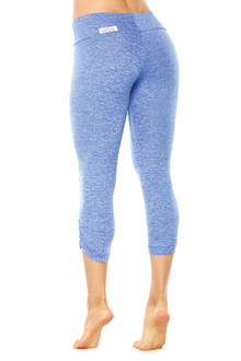 Butter Blue Sport Band Side Gather 3/4 Leggings