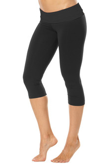Rolldown 3/4 Leggings - BLACK ON BLACK - FINAL SALE - LARGE