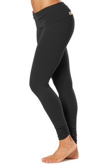 Rolldown Ankle Gather Leggings - BLACK ON BLACK - SALE - SMALL (1 AVAILABLE)