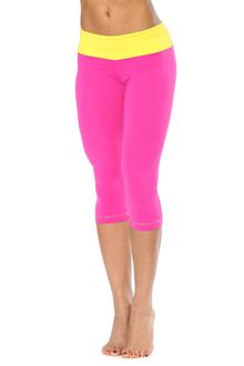 Alicia Marie - Diva 3/4 Leggings - YELLOW ON FUSCHIA - SALE - SMALL